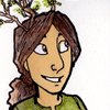 a smiling girl with branch antlers